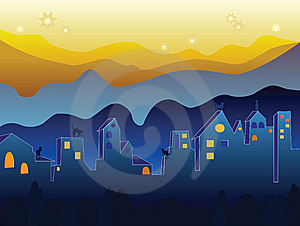 Cats On The Night Roofs Stock Image - Image: 8957901