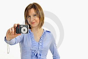 Blond Model With Camera Stock Photos - Image: 8958033