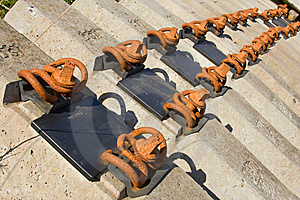 Row Of A  Rusty Bolts Stock Image - Image: 8958161