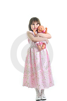 Little Cute Girl With Doll Royalty Free Stock Photos - Image: 8959538