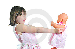 Happy Girl With Doll Stock Photography - Image: 8959602
