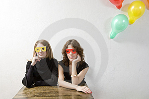 Woman Wearing Funny Glasses Royalty Free Stock Images - Image: 8960969