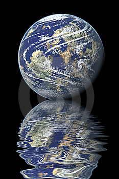 Earth Reflected On Water Stock Photos - Image: 8962263