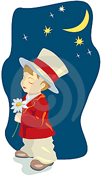 Retro Romantic Boy With Flower, Dating Royalty Free Stock Photography - Image: 8962367