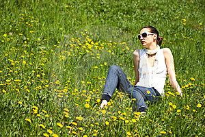 Young Woman With Sunglasses In Nature Royalty Free Stock Photos - Image: 8964298
