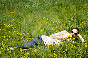 Young Woman In Nature Smelling  Flowers Royalty Free Stock Photos - Image: 8965038