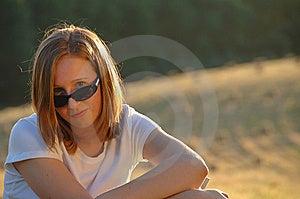 Teenage Girl With Sunglasses Stock Photo - Image: 8965290