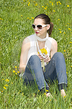 Young Woman In Nature Holding Flowers Stock Photos - Image: 8965673
