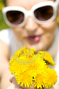Young Woman In Nature Offering Flowers Royalty Free Stock Images - Image: 8966919