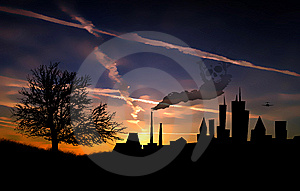 City Pollution Sunset Landscape Shape Royalty Free Stock Images - Image: 8968769