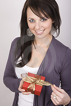 Woman Holding Gift Stock Photo - Image: 8970450