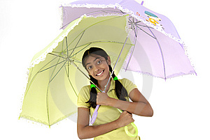 Girl Holding Two Umbrella Stock Images - Image: 8971654