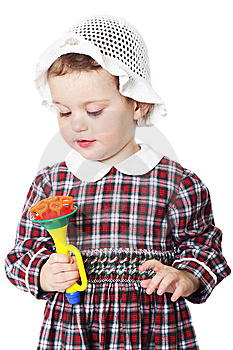 Little Girl In Checkered Dress Royalty Free Stock Photo - Image: 8971675