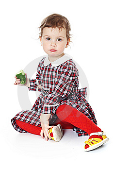 Little Girl In Checkered Dress Stock Photo - Image: 8971720