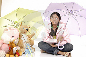 Girl Gives Protection To Toy Royalty Free Stock Images - Image: 8971739