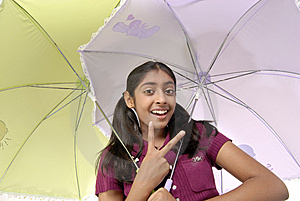 Girl Posing With Two Umbrella Stock Image - Image: 8971821
