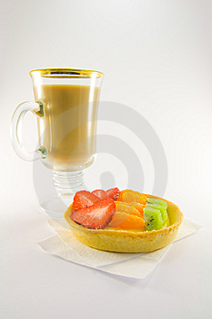 Fruit Tart With Latte Royalty Free Stock Photo - Image: 8973515