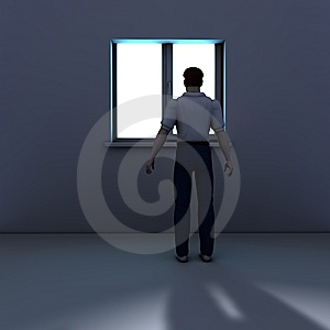 Man Looking Through A Window Royalty Free Stock Photography - Image: 8977457