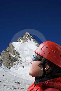 Climbers Looks At The Top Of Mountain Royalty Free Stock Photo - Image: 8978725