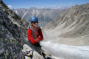 Climber In Red Clothes Stock Images - Image: 8978804