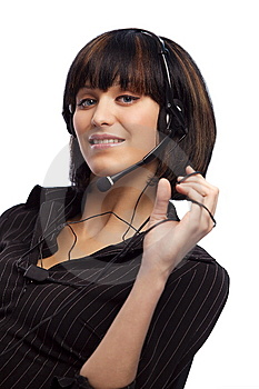 Beautiful Brunette Woman With Headphone Royalty Free Stock Photos - Image: 8978928