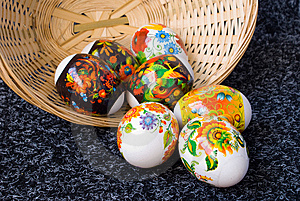 Easter Painting Eggs And Small Basket Stock Photos - Image: 8979013