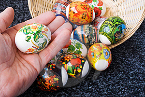 An Easter Painting Egg Is In The Hand Of Man Stock Image - Image: 8979101