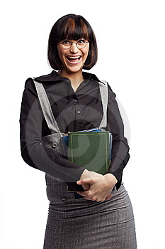 Laughing Brunette Schoolgirl Hold Books Royalty Free Stock Image - Image: 8979356