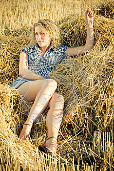 Country Girl Lying On The Haystack Royalty Free Stock Image - Image: 8981006
