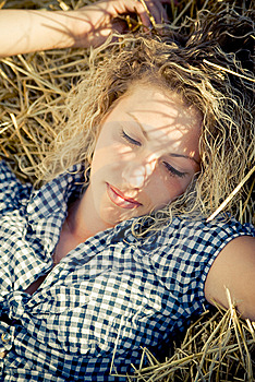 Beautiful Girl Lying On The Haystack Stock Photos - Image: 8981033