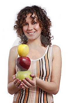Girl With Apples. Stock Photo - Image: 8981420