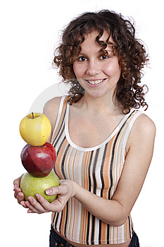 Woman With Apples. Royalty Free Stock Photos - Image: 8981428