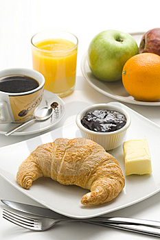 Continental Breakfast Of Coffee And Croissants Royalty Free Stock Images - Image: 8983939