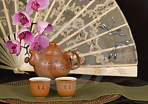 Chinese Teapot And Antique Fan Horizontal Stock Photo - Image: 8984590