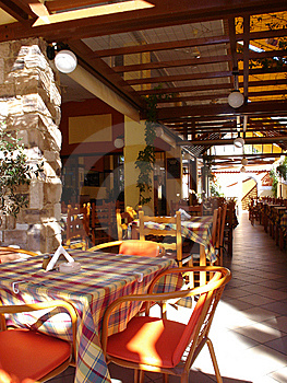 Cover Terrace Of Greek Taverna Royalty Free Stock Photos - Image: 8986318