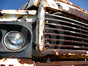 Rusty Car Grill Headlight 1 Royalty Free Stock Image - Image: 8986826