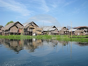 Village Huts In The Lake Stock Photo - Image: 8988230