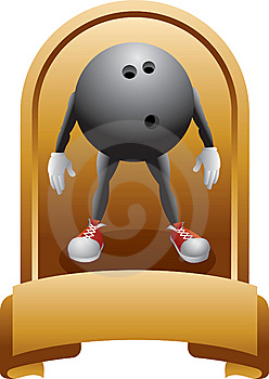 Trophy Of A Bowling Ball Cartoon Character Stock Image - Image: 8993631