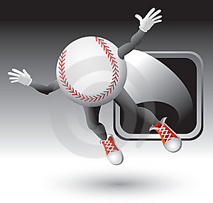 Baseball Character Flying Out Of Silver Frame Stock Photography - Image: 8993672