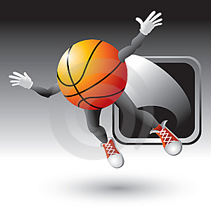 Basketball Character Popping Out Of Silver Frame Stock Images - Image: 8993684