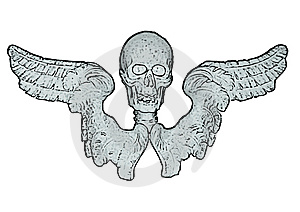 Skull And Wings (vector) Royalty Free Stock Photos - Image: 8996618