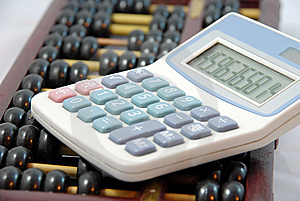 Abacus   And  Calculator Royalty Free Stock Photo - Image: 8999375