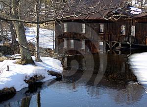 River Leading To Lumber Mill Free Stock Images