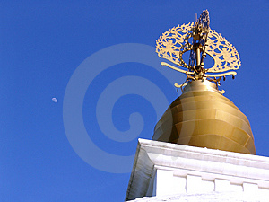 Peace Pagoda Dome With Moon Stock Photography