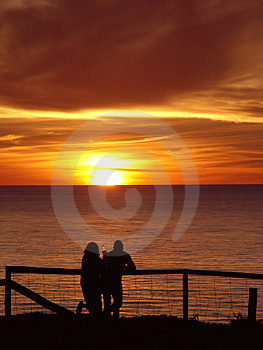 Couple Enjoying Sunset Free Stock Images