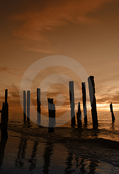 Broken Pier Orange Stock Image