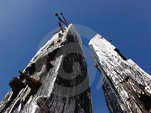 Drewniane poczta Zdjęcia Stock