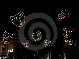 Flying Masks Royalty Free Stock Photography