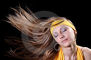 Girl with magnificent hair Stock Photos