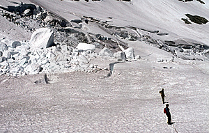 Climbers Traversing Crevassed Glacier Stock Photo - Image: 9001300